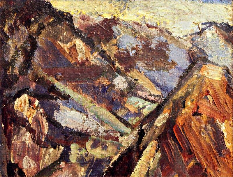 Montañas estilizadas de la pintura al óleo del extracto en lona texturizada libre illustration
