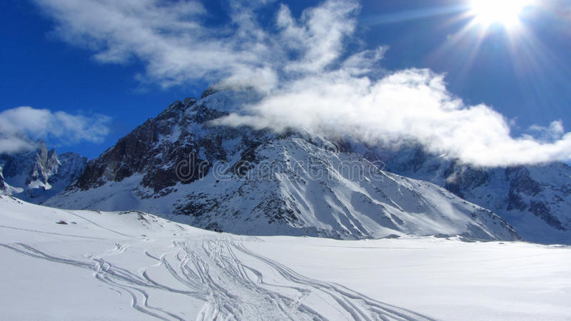 Montañas francesas en invierno, Chamonix imagenes de archivo