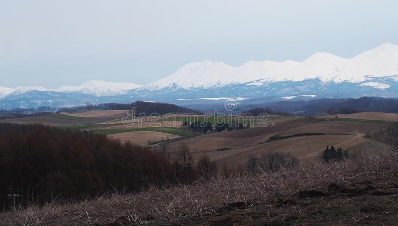Montañas Hokkaido de la nieve fotografía de archivo