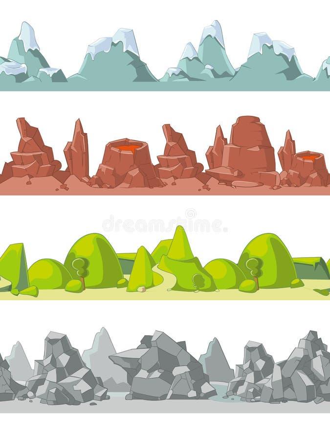Montañas inconsútiles del vector fijadas en estilo de la historieta libre illustration