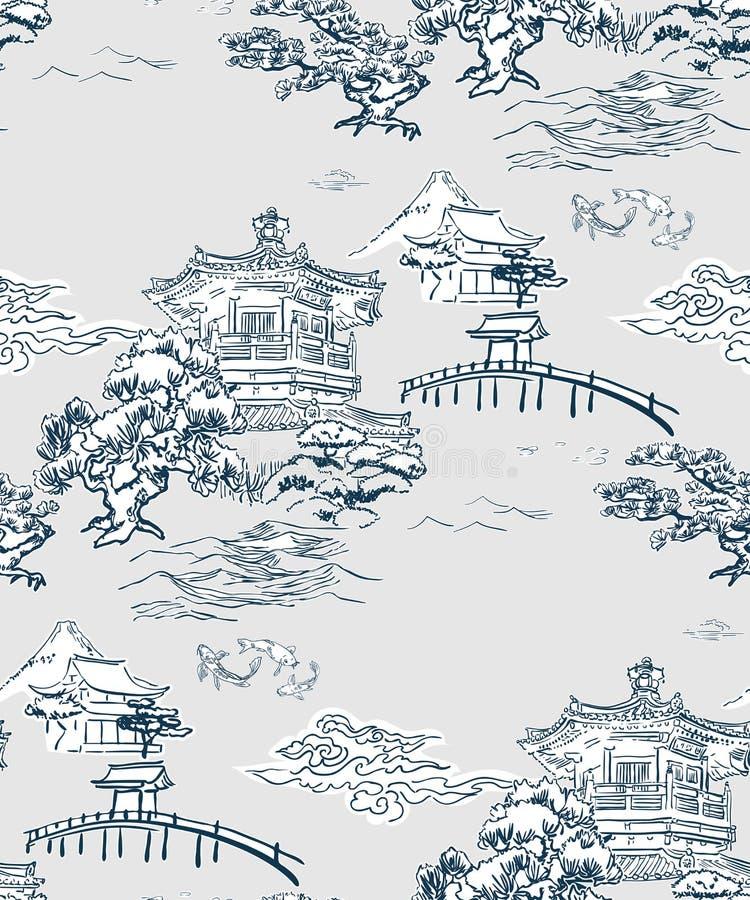 Montañas japonesas del pino del modelo del vector de la opinión del templo imagen de archivo libre de regalías