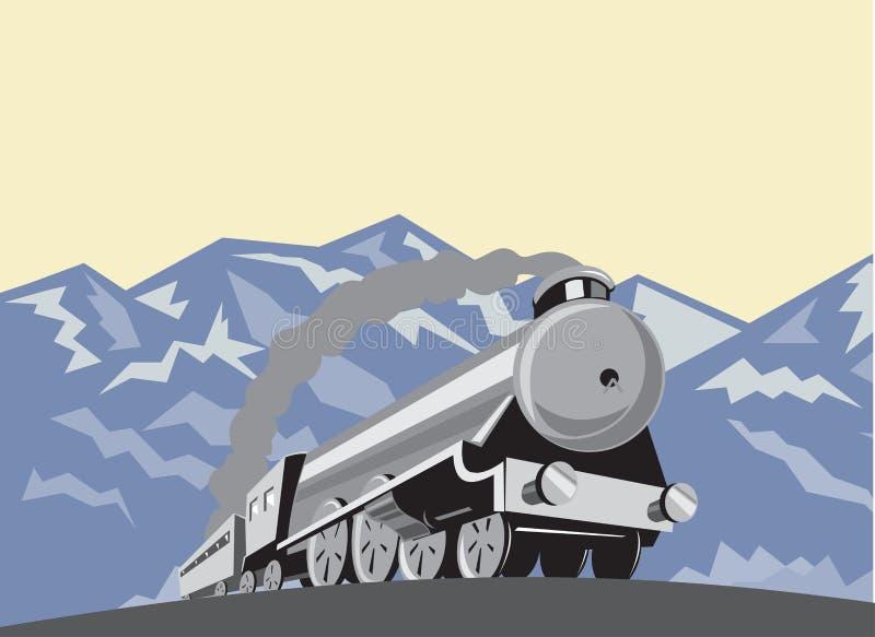 Montañas locomotoras del tren del vapor retras stock de ilustración