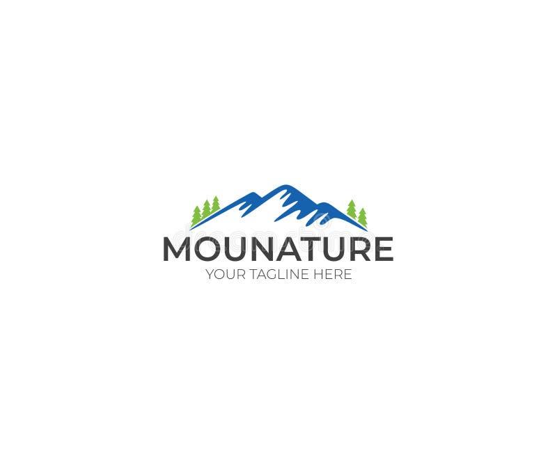 Montañas Logo Template Naturaleza y Forest Vector Design libre illustration