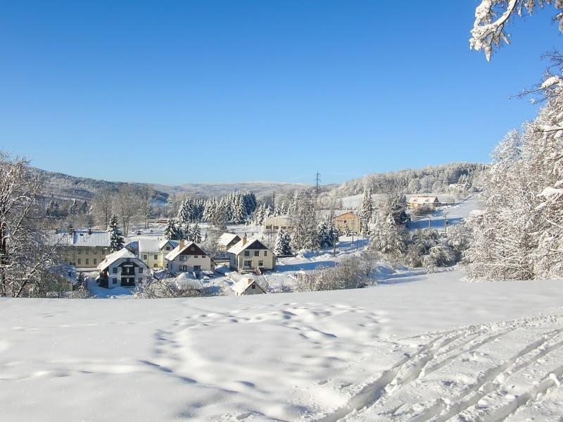 Montañas majestuosas del paisaje misterioso del invierno en invierno Árbol nevado del invierno mágico Camino del invierno en las  foto de archivo