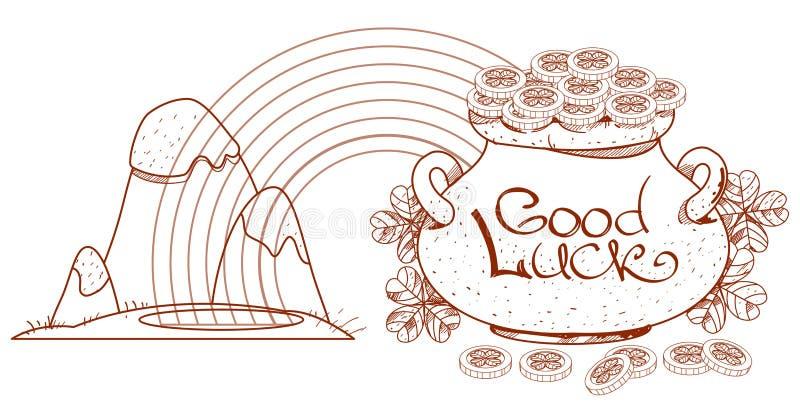 Montañas nevadas, arco iris, monedas de la mina de oro libre illustration