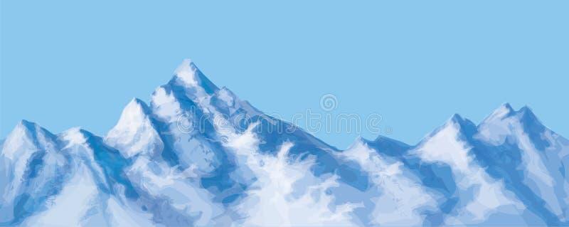 Montañas nevosas inconsútiles del vector stock de ilustración