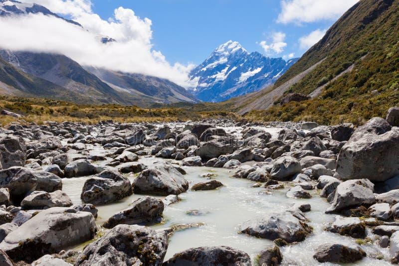 Montañas NZ de Hooker Valley Southern del cocinero del soporte de Aoraki foto de archivo