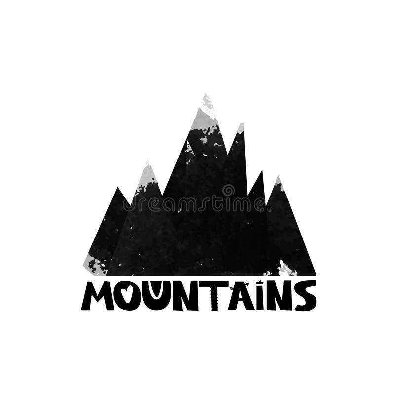 Montañas Poner letras al texto Silueta de la acuarela de las montañas negras Vector ilustración del vector