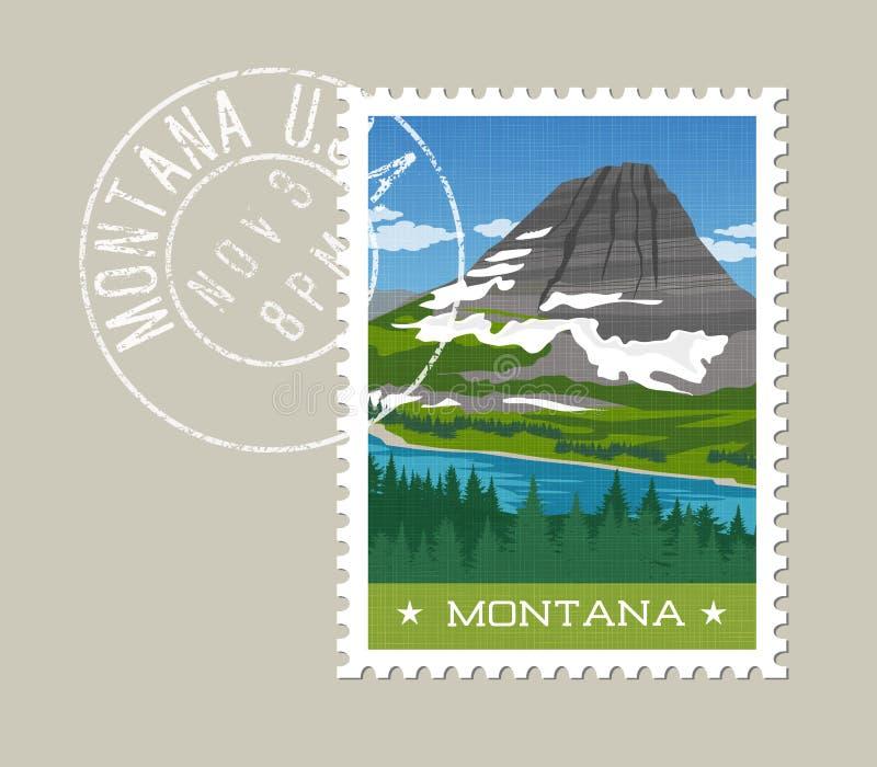 Montañas, río y bosque de Montana ilustración del vector