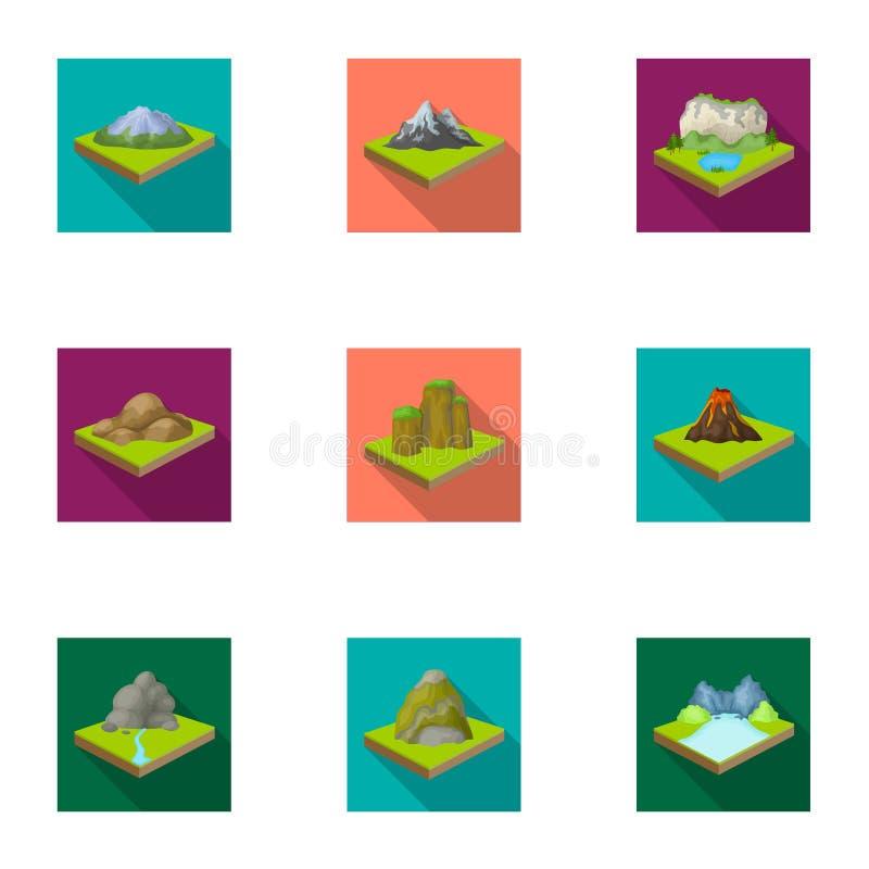 Montañas, rocas, faro, volcán y otros alivios de la tierra Las montañas y los paisajes fijaron iconos de la colección en plano stock de ilustración