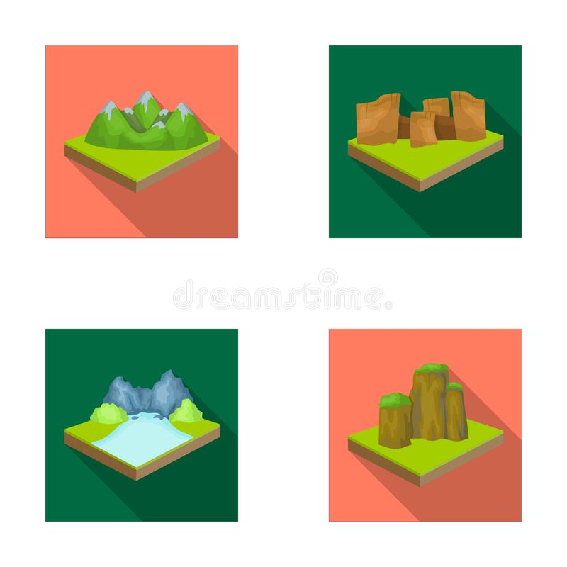 Montañas, rocas y paisaje El alivio y las montañas fijaron iconos de la colección en la acción isométrica del símbolo del vector  ilustración del vector