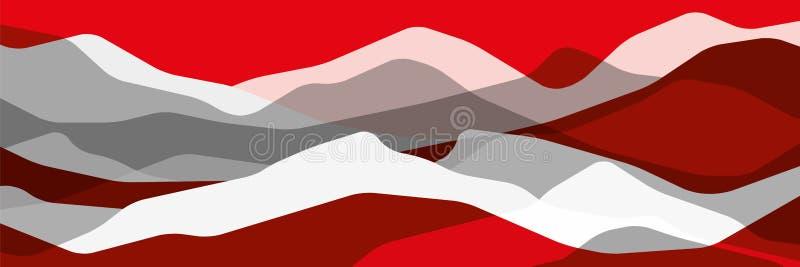 Montañas rojas y grises, ondas translúcidas, formas de cristal abstractas, fondo moderno, ejemplo del diseño del vector para uste libre illustration