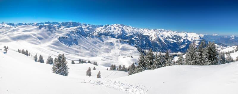 Montañas suizas cubiertas por la nueva nieve fresca vista de la estación de esquí de Hoch-Ybrig, Suiza central fotos de archivo libres de regalías