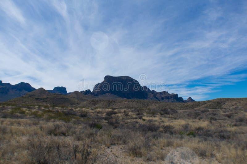 Montañas y árbol en el desierto cerca de un camino imagenes de archivo