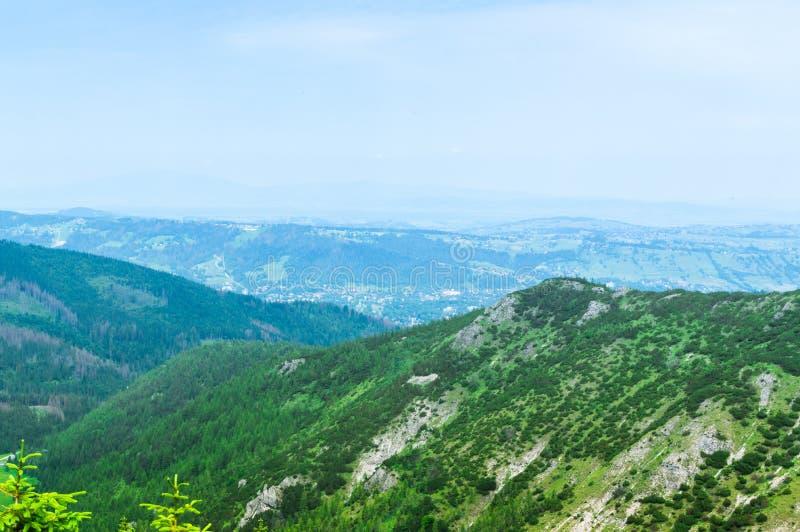 Montañas y colinas en el parque de Tatra Turismo y el caminar de Polonia, foto de archivo