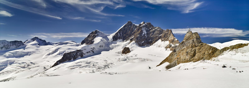 Montañas y glaciar, Suiza de Jungfraujoch Paisaje panorámico fotos de archivo