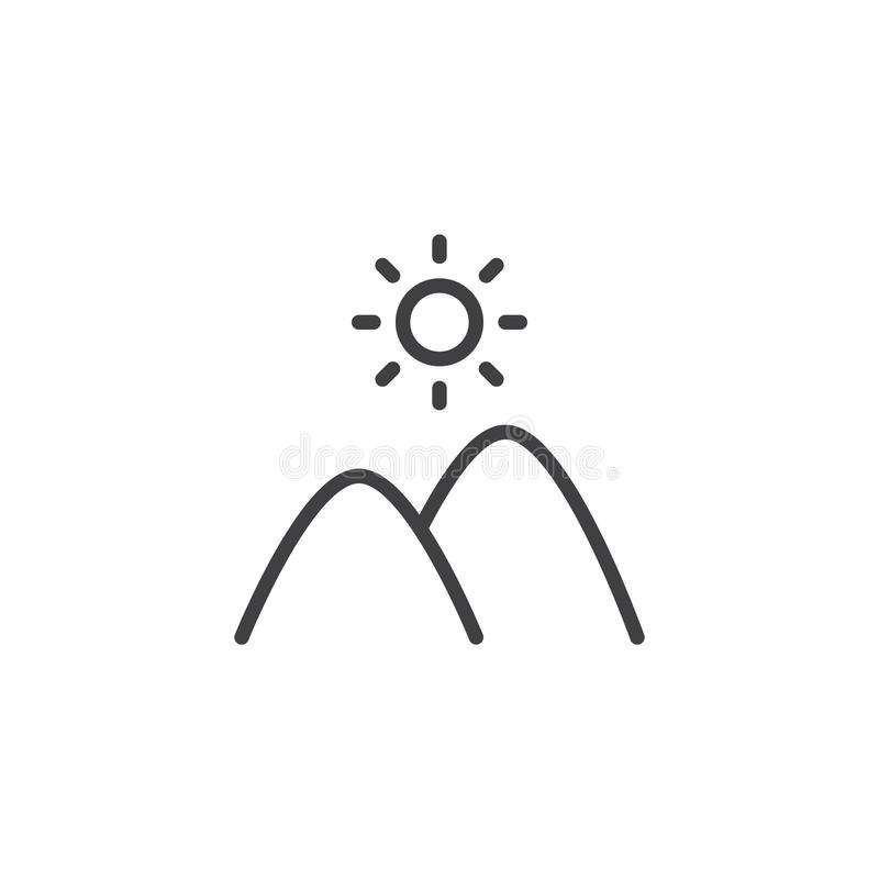 Monta?as y l?nea icono del sol ilustración del vector