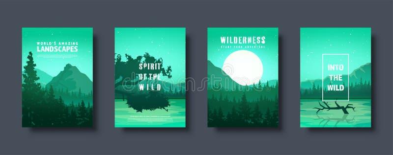 Montañas y paisaje salvaje de la naturaleza del bosque Viaje y aventura Panorama En el bosque Línea del horizonte Árboles, niebla ilustración del vector
