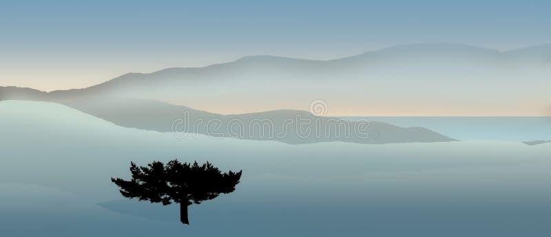 Montañas y panorama del árbol stock de ilustración