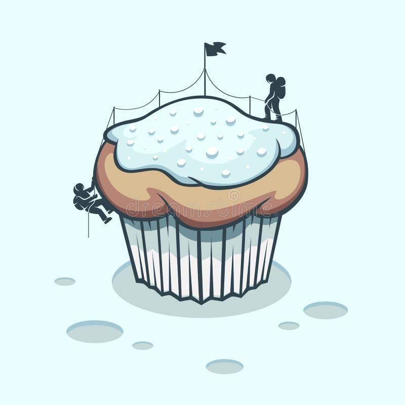 Montañeses que asaltaron una torta del invierno stock de ilustración