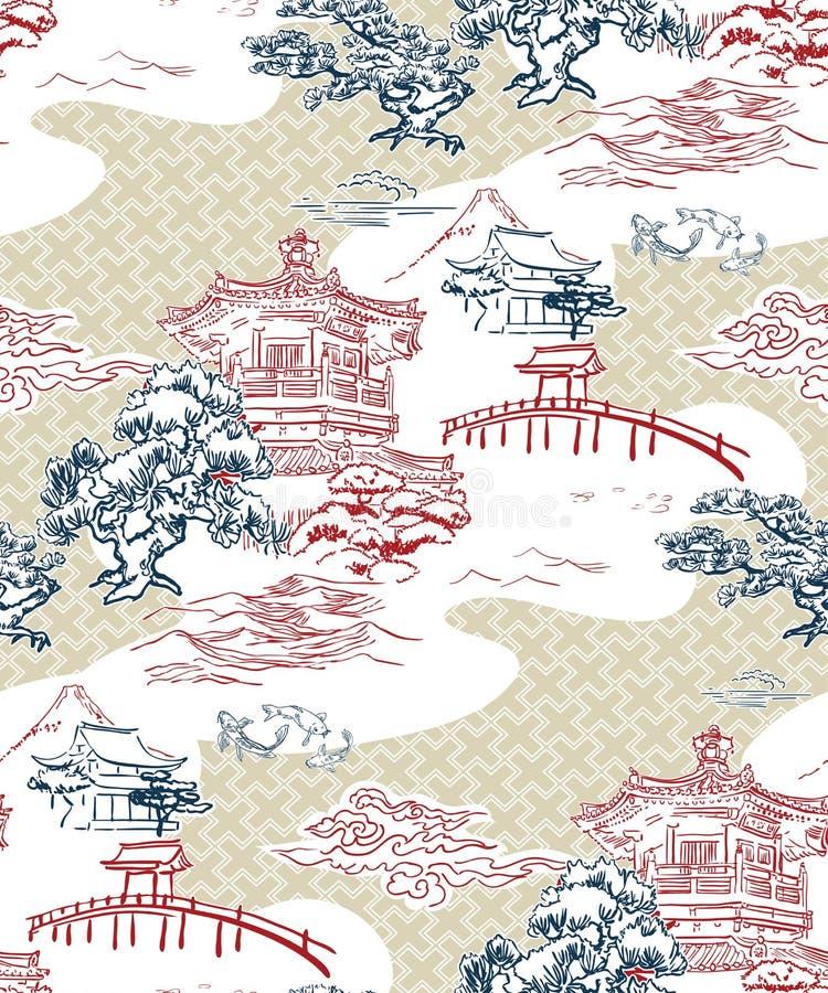 Monta?as japonesas del pino del modelo del vector de la opini?n del templo imágenes de archivo libres de regalías