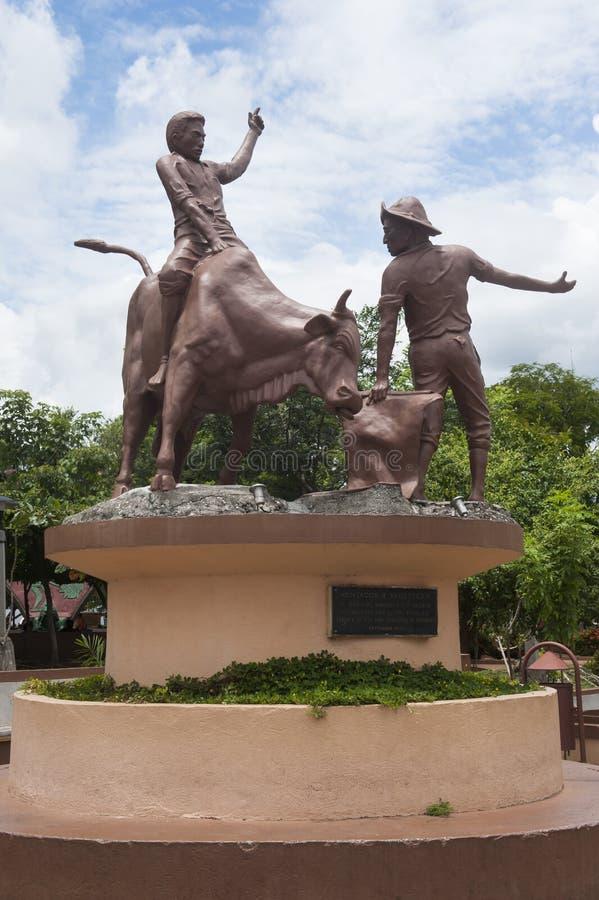 Montador y Vaquetero雕象在圣克鲁斯,哥斯达黎加 免版税库存图片