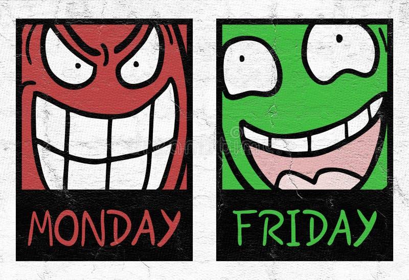 Montag und Freitag stockfotografie