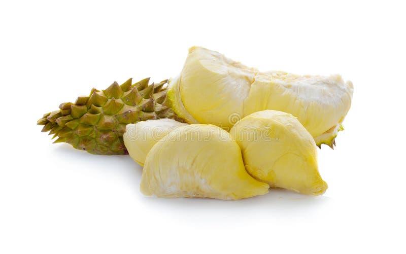 Montag-Zapfen Durian ist Fruchtplatte tropischer Durian und K?nig von Fr?chte Durian auf wei?er lokalisierten Hintergrund dem ges stockbilder