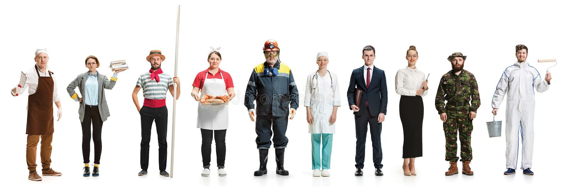 Montage über verschiedene Berufe stockbild