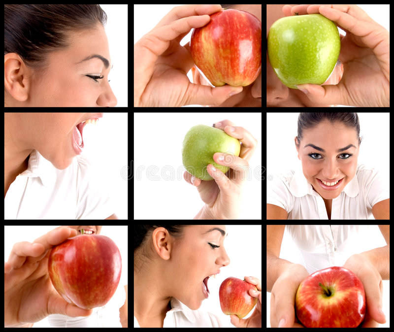 Montage φωτογραφιών της γυναίκας που τρώει το μήλο στοκ φωτογραφίες με δικαίωμα ελεύθερης χρήσης