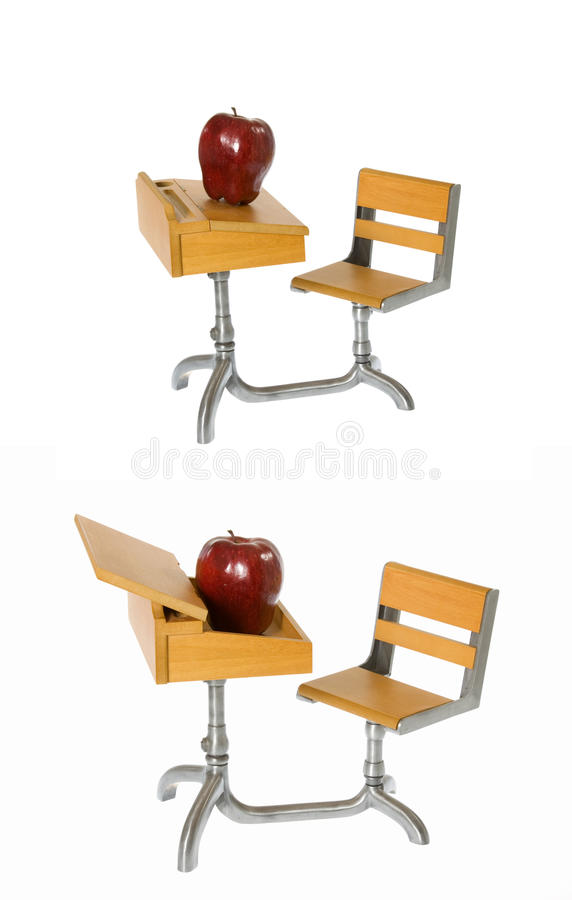 Download Montage: Antique School Desk With Shiny Red Apple Stock Image - Image: 13949893