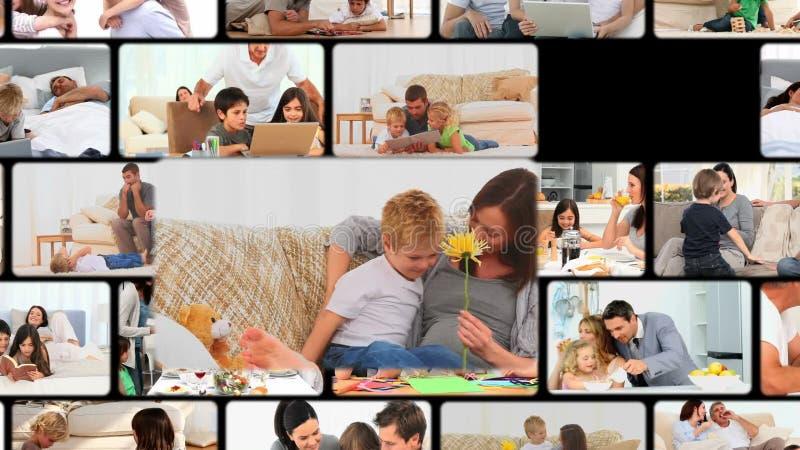 Montage av familjer som hemma tycker om ögonblick