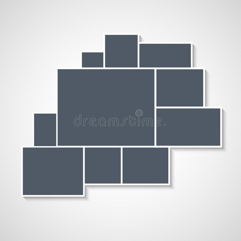 Montage collage photo frame template. Image picture background montage poster design.  royalty free illustration