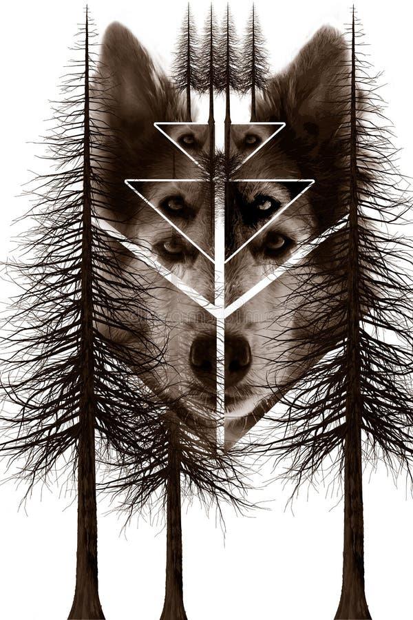Montage de chien et d'arbres illustration libre de droits