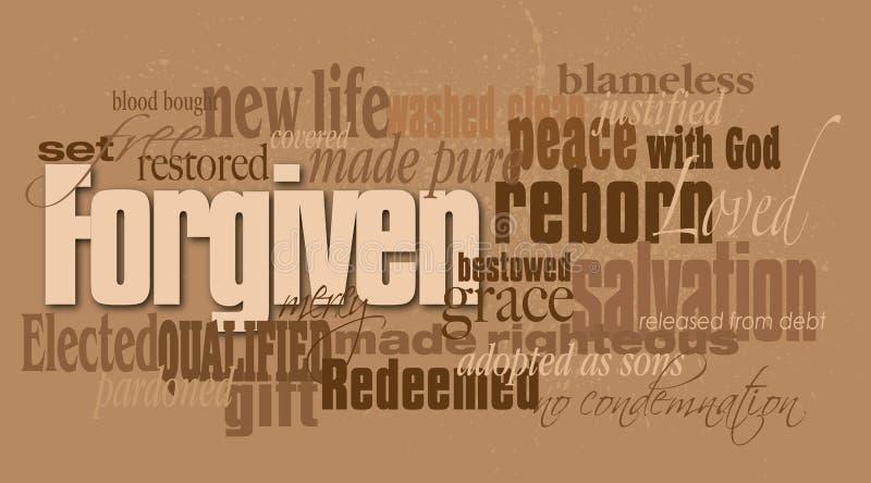 Montage de mot indulgent par chrétien illustration de vecteur