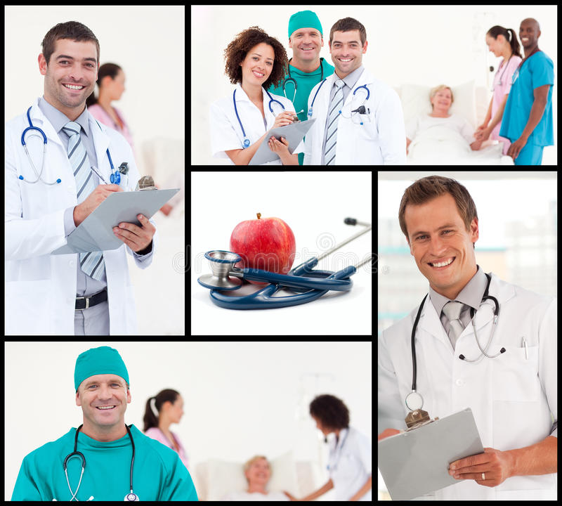Montage des Gesundheitspflege- und Nahrungkonzeptes lizenzfreies stockbild