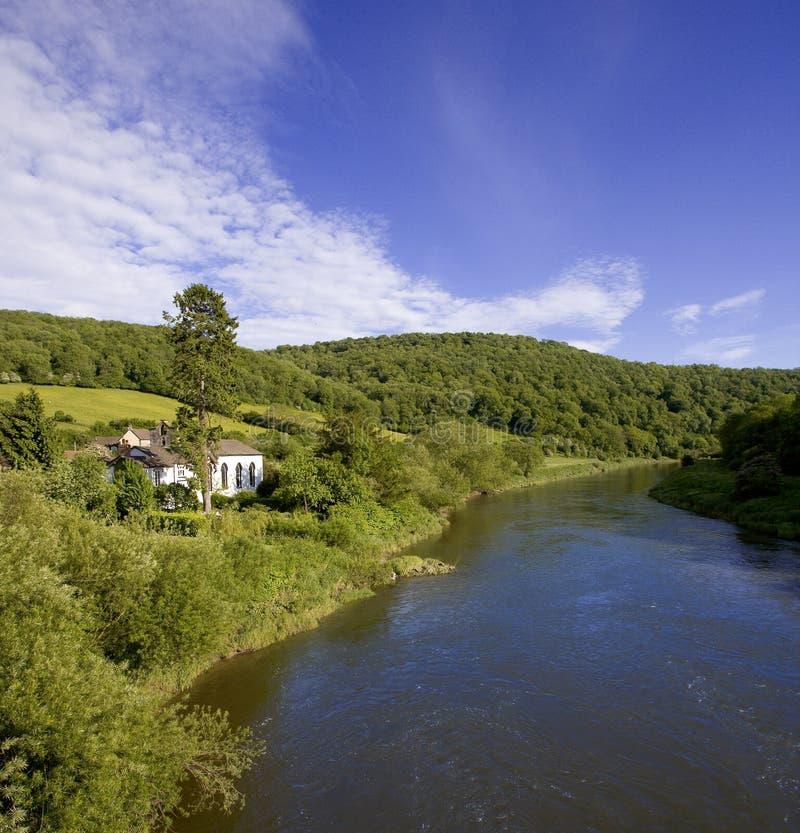 Montage en étoile de fleuve l'anglais du Pays de Galles de monmouthshire de gloucestershire de vallée de montage en étoile photographie stock libre de droits