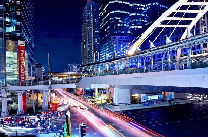 Montage en pont de ciel à la gare de transit rapide de Bangkok, Bangkok, photographie stock libre de droits