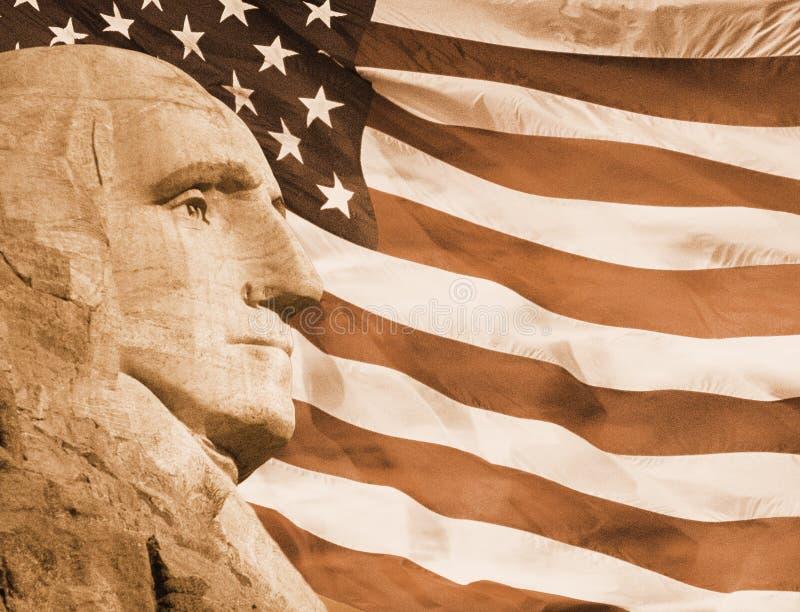 Montage för Sepiasignalfoto: Profil av presidenten George Washington och amerikanska flaggan royaltyfri bild