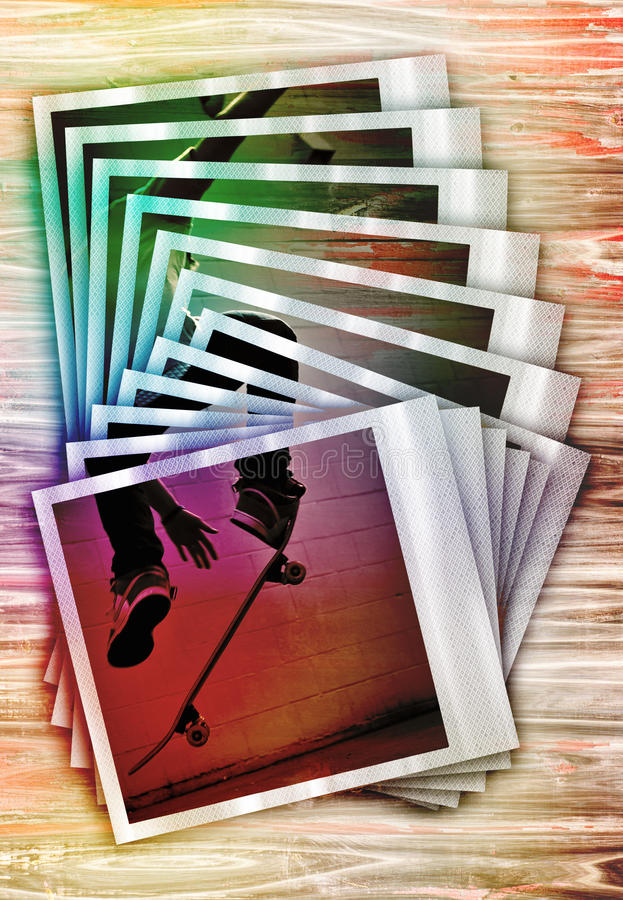 Montage faisant de la planche à roulettes de photos illustration de vecteur