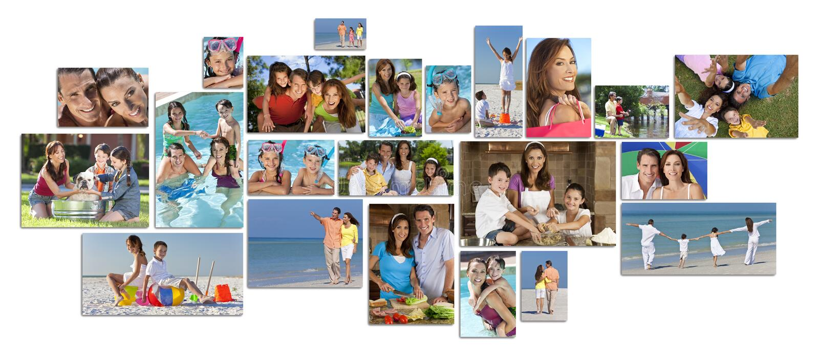 Montage Happy Family Parents & Two Children Lifestyle. Montage of happy family parents and two children boy and girl enjoying an active lifestyle on holiday royalty free stock image