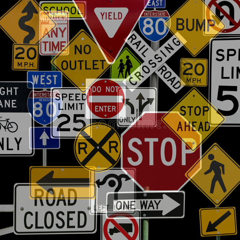 Download Montage Of Numerous Traffic Control Signs Stock Photo - Image of rules, direction: 11696768