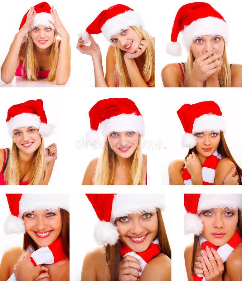 Montage of santa woman stock photos