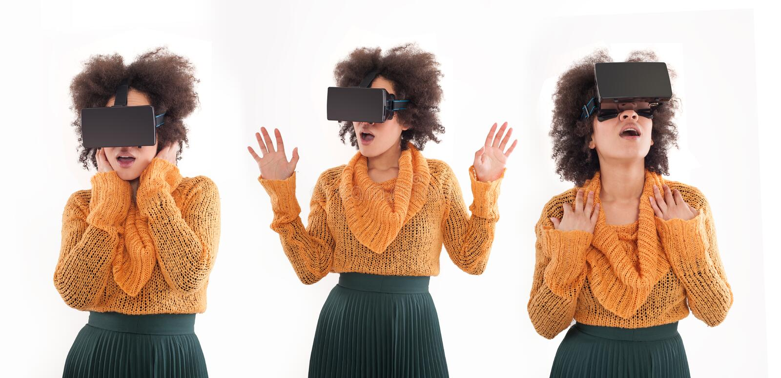 Montage with young woman having fun with virtual reality glasses royalty free stock image