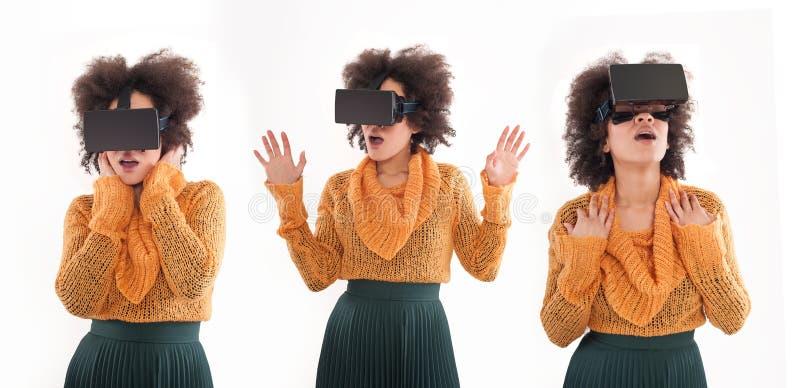 Montagem com a jovem mulher que tem o divertimento com vidros da realidade virtual imagem de stock royalty free