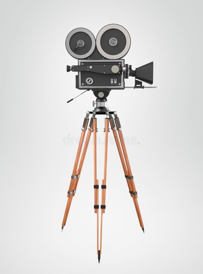 Montagem de tripé retro da câmera do filme do vintage isolada na rendição de alta qualidade branca ilustração royalty free