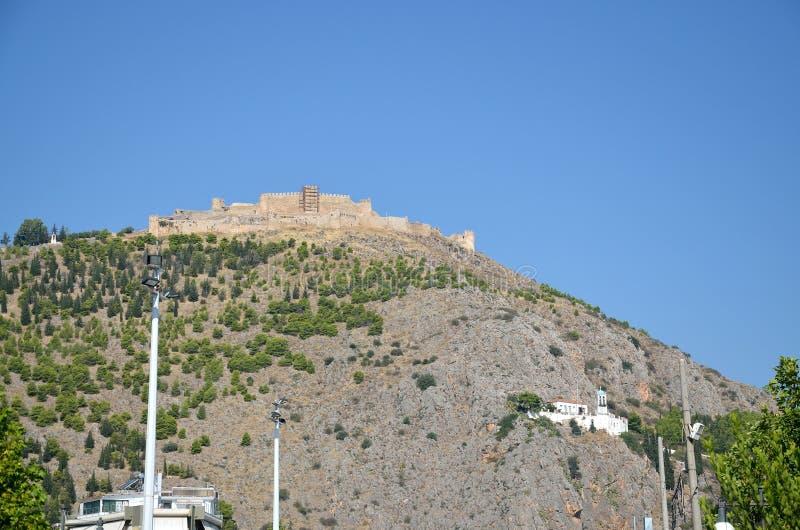 Montagem Larissa em Argos Peloponesse, Grécia foto de stock