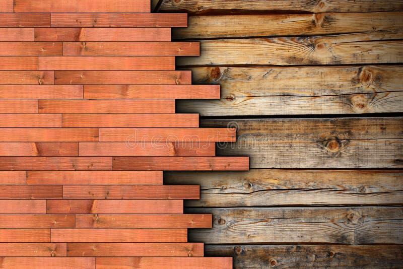 Montagem nova do assoalho na superfície de madeira velha imagem de stock royalty free