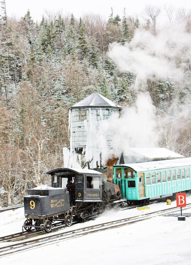 Montagem Washington Cog Railway, Bretton Woods, New Hampshire, EUA foto de stock