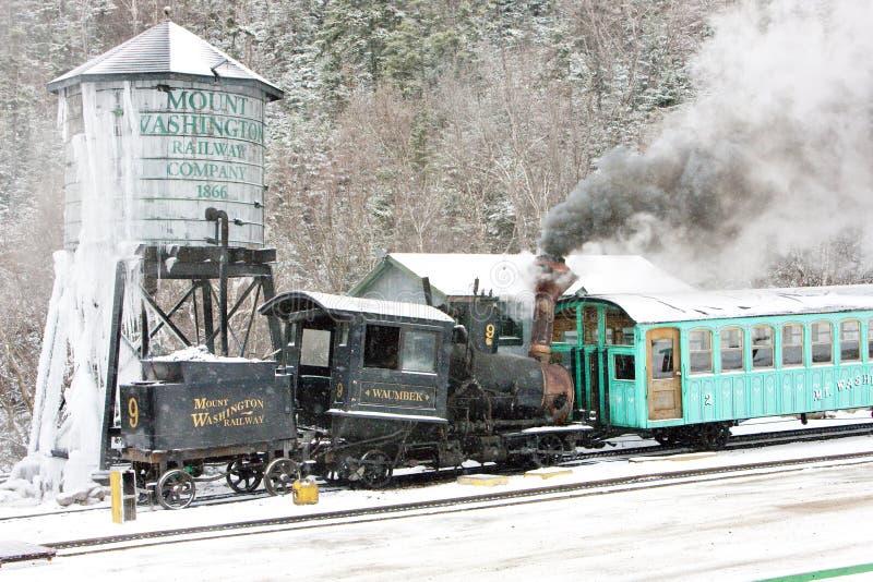 Montagem Washington Cog Railway, Bretton Woods, New Hampshire, EUA imagem de stock